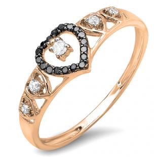 0.15 Carat (ctw) 18K Rose Gold Round Black & White Diamond Ladies Bridal Wave Heart Promise Ring