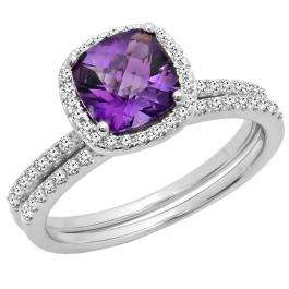 1.75 Carat (ctw) 10K White Gold Cushion Cut Amethyst & Round Cut White Diamond Ladies Bridal Halo Engagement Ring With Matching Band Set 1 3/4 CT
