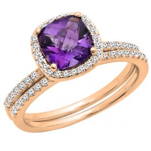 1.75 Carat (ctw) 14K Rose Gold Cushion Cut Amethyst & Round Cut White Diamond Ladies Bridal Halo Engagement Ring With Matching Band Set 1 3/4 CT