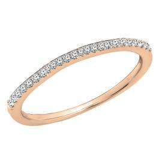 0.10 Carat (ctw) 18K Rose Gold Round Cut White Diamond Ladies Anniversary Wedding Stackable Band 1/10 CT