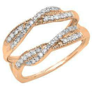 0.40 Carat (ctw) 10K Rose Gold Round Cut Diamond Ladies Anniversary Wedding Band Swirl Enhancer Guard Double Ring