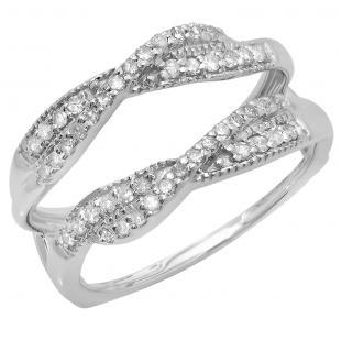 0.40 Carat (ctw) 10K White Gold Round Cut Diamond Ladies Anniversary Wedding Band Swirl Enhancer Guard Double Ring