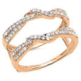 0.55 Carat (ctw) 18K Rose Gold Round Cut Diamond Ladies Anniversary Wedding Band Enhancer Swirl Guard Double Ring 1/2 CT