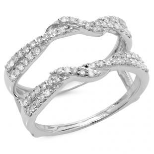 0.55 Carat (ctw) 18K White Gold Round Cut Diamond Ladies Anniversary Wedding Band Enhancer Swirl Guard Double Ring 1/2 CT