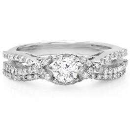 1.00 Carat (ctw) 10K White Gold Round Cut Diamond Ladies Bridal Swirl Split Shank Engagement Ring With Matching Band Set 1 CT