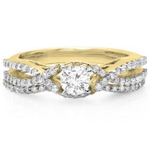 1.00 Carat (ctw) 18K Yellow Gold Round Cut Diamond Ladies Bridal Swirl Split Shank Engagement Ring With Matching Band Set 1 CT