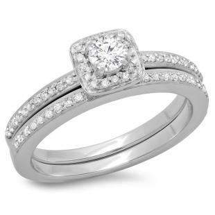 0.50 Carat (ctw) 10K White Gold Round Cut Diamond Ladies Bridal Halo Engagement Ring With Matching Band Set 1/2 CT