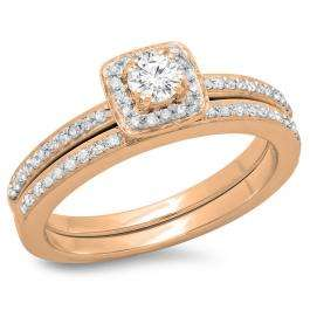 0.50 Carat (ctw) 14K Rose Gold Round Cut Diamond Ladies Bridal Halo Engagement Ring With Matching Band Set 1/2 CT