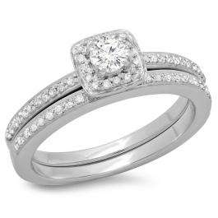 0.50 Carat (ctw) 14K White Gold Round Cut Diamond Ladies Bridal Halo Engagement Ring With Matching Band Set 1/2 CT