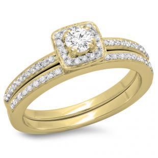 0.50 Carat (ctw) 14K Yellow Gold Round Cut Diamond Ladies Bridal Halo Engagement Ring With Matching Band Set 1/2 CT