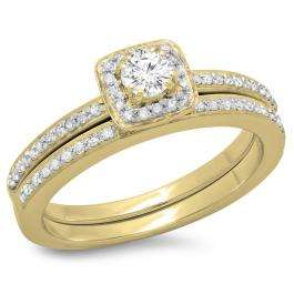 0.50 Carat (ctw) 18K Yellow Gold Round Cut Diamond Ladies Bridal Halo Engagement Ring With Matching Band Set 1/2 CT