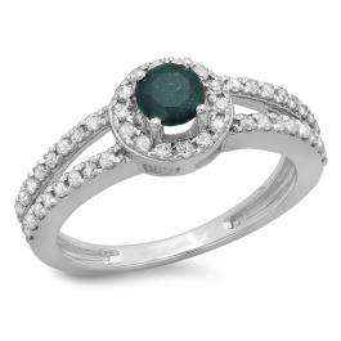 0.90 Carat (ctw) 18K White Gold Round Cut Blue & White Diamond Ladies Bridal Split Shank Halo Style Engagement Ring