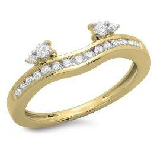 0.40 Carat (ctw) 10K Yellow Gold Round Cut Diamond Ladies Anniversary Wedding Enhancer Guard Band