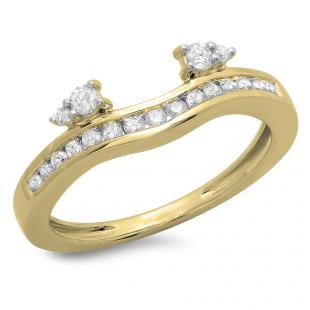 0.40 Carat (ctw) 18K Yellow Gold Round Cut Diamond Ladies Anniversary Wedding Enhancer Guard Band