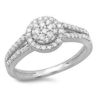 0.55 Carat (ctw) 10K White Gold Round Cut Diamond Ladies Split Shank Bridal Cluster Engagement Ring 1/2 CT
