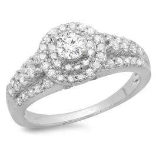 1.00 Carat (ctw) 14K White Gold Round Cut Diamond Ladies Vintage Style Bridal Halo Engagement Ring 1 CT