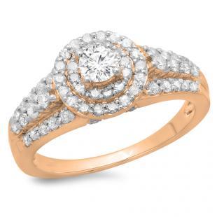 1.00 Carat (ctw) 18K Rose Gold Round Cut Diamond Ladies Vintage Style Bridal Halo Engagement Ring 1 CT