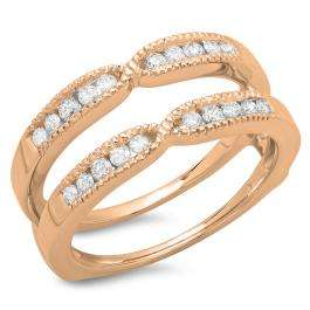 0.35 Carat (ctw) 14K Rose Gold Round Cut Diamond Ladies Millgrain Anniversary Wedding Band Guard Double Ring 1/3 CT