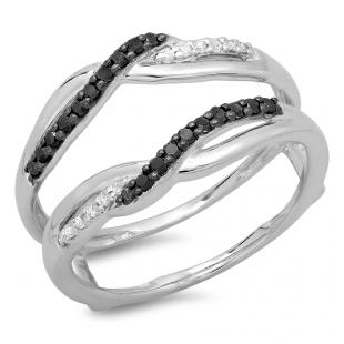 0.20 Carat (ctw) 10K White Gold Round Cut Black & White Diamond Ladies Anniversary Wedding Band Swirl Guard Double Ring 1/5 CT