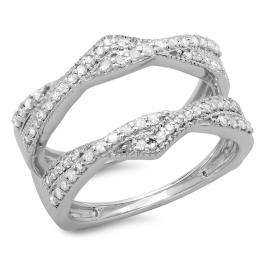 0.45 Carat (ctw) 18K White Gold Round Cut Diamond Ladies Anniversary Wedding Band Swirl Enhancer Guard Double Ring 1/2 CT
