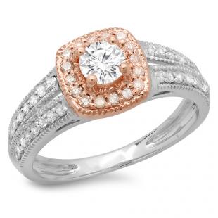 0.75 Carat (ctw) 14K Two Tone Gold Round Cut Diamond Ladies Split Shank Bridal Halo Engagement Ring 3/4 CT