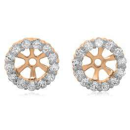 0.50 Carat (ctw) 14K Rose Gold Round Cut Diamond Cluster Style Removable Jackets For Stud Earrings 1/2 CT