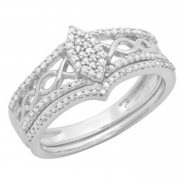 0.33 Carat (ctw) Sterling Silver Round Cut Diamond Ladies Bridal Marquise Shape Vintage Engagement Ring With Matching Band Set 1/3 CT