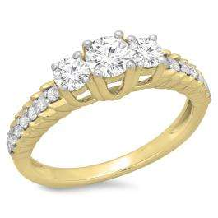 1.00 Carat (ctw) 10K Yellow Gold Round Cut Diamond Ladies Bridal 3 Stone Engagement Ring 1 CT