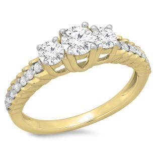 1.00 Carat (ctw) 14K Yellow Gold Round Cut Diamond Ladies Bridal 3 Stone Engagement Ring 1 CT