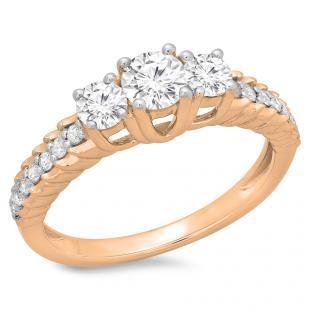 1.00 Carat (ctw) 18K Rose Gold Round Cut Diamond Ladies Bridal 3 Stone Engagement Ring 1 CT