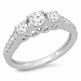0.75 Carat (ctw) 10K White Gold Round Cut Diamond Ladies Bridal 3 Stone Engagement Ring 3/4 CT