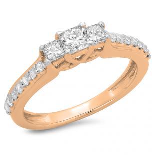 0.85 Carat (ctw) 14K Rose Gold Princess & Round Cut Diamond Ladies Bridal 3 Stone Engagement Ring