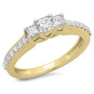 0.85 Carat (ctw) 14K Yellow Gold Princess & Round Cut Diamond Ladies Bridal 3 Stone Engagement Ring