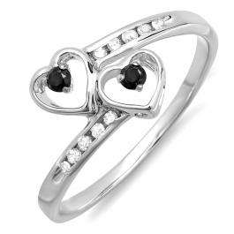 0.15 Carat (ctw) Sterling Silver Round Black & White Diamond Ladies Bridal Double Heart Promise Ring