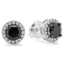 2.00 Carat (ctw) 14K White Gold Round Cut White & Black Cubic Zirconia Ladies Halo Stud Earrings 2 CT