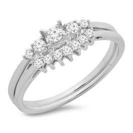 0.25 Carat (ctw) 18K White Gold Round Cut Diamond Ladies 5 Stone Bridal Engagement Ring With Matching Band Set 1/4 CT
