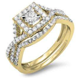 1.00 Carat (ctw) 14K Yellow Gold Princess & Round Cut Diamond Ladies Twisted Split Shank Bridal Halo Engagement Ring With Matching Band Set 1 CT