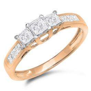 1.00 Carat (ctw) 10K Rose Gold Princess Cut Diamond Ladies 3 Stone Bridal Engagement Ring 1 CT