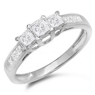 1.00 Carat (ctw) 14K White Gold Princess Cut Diamond Ladies 3 Stone Bridal Engagement Ring 1 CT