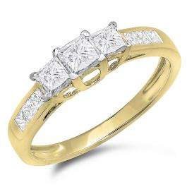 1.00 Carat (ctw) 14K Yellow Gold Princess Cut Diamond Ladies 3 Stone Bridal Engagement Ring 1 CT