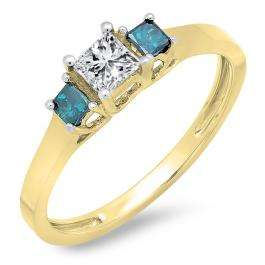 0.45 Carat (ctw) 14K Yellow Gold Princess Cut Blue & White Diamond Ladies Bridal 3 Stone Engagement Ring 1/2 CT