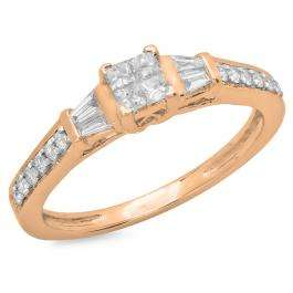 0.50 Carat (ctw) 14K Rose Gold Princess Baguette & Round Cut Diamond Ladies Bridal Engagement Ring 1/2 CT