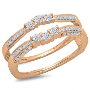 0.50 Carat (ctw) 10K Rose Gold Round Cut Diamond Ladies Anniversary Wedding Band Enhancer Guard Double Ring 1/2 CT