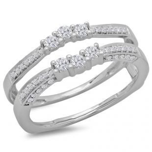 0.50 Carat (ctw) 10K White Gold Round Cut Diamond Ladies Anniversary Wedding Band Enhancer Guard Double Ring 1/2 CT