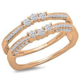 0.50 Carat (ctw) 14K Rose Gold Round Cut Diamond Ladies Anniversary Wedding Band Enhancer Guard Double Ring 1/2 CT