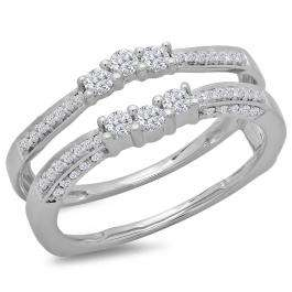 0.50 Carat (ctw) 14K White Gold Round Cut Diamond Ladies Anniversary Wedding Band Enhancer Guard Double Ring 1/2 CT