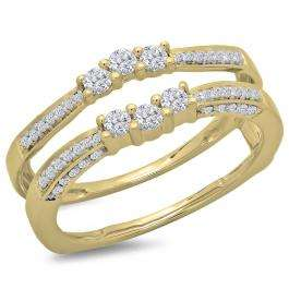 0.50 Carat (ctw) 14K Yellow Gold Round Cut Diamond Ladies Anniversary Wedding Band Enhancer Guard Double Ring 1/2 CT