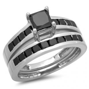 2.35 Carat (ctw) 10K White Gold Princess Cut Black Diamond Ladies Bridal Engagement Ring With Matching Band Set