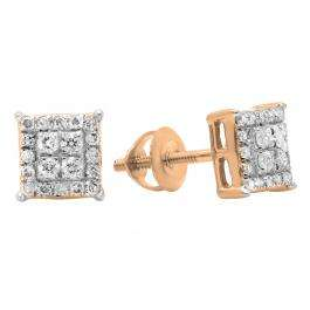 0.30 Carat (ctw) 10K Rose Gold Round White Diamond Ladies Square Shape Stud Earrings 1/3 CT