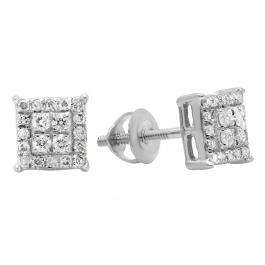 0.30 Carat (ctw) 18K White Gold Round White Diamond Ladies Square Shape Stud Earrings 1/3 CT